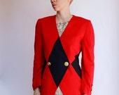 Vintage 80's harlequin pattern blazer, bright red & dark navy blue, I Magnin, shoulder pads, 2 button closure, cotton blend, color block - M