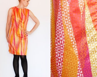 Vintage 60's Liberty House dress, sleeveless, geometric, waves, triangles, orange, pink, yellow, sheath dress - Medium