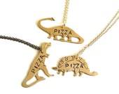 pizza necklace . trex necklace . stegosaurus necklace . brontosaurus necklace . hand stamped, pick your pizzasaurus