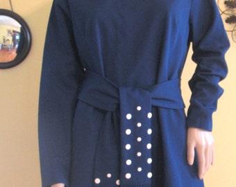 Vintage Blue Shift Dress. Fun Blue Shift Dress by Lady Carol / Size Med