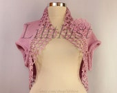 Pink Knit Shrug Bolero, Wedding Bolero, Crochet Shrug, Bridal Shrug Bolero, Bridal Cover Up, Bridesmaid Cape, Sleeveless Cardigan S-M-L