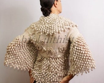 Bridal Shrug Bolero, Crochet Shrug, Wedding Bolero Jacket, Crochet Bolero, Knit Shrug, Cape, Flower Shrug, Wedding Shrug, Sweater Shrug