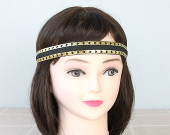 Gold black boho headband adult headband woman heart headband bohemian headband halo headbands for women greek headband gift for her