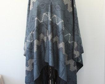 Autumn fall fashion Aztec poncho tribal cape Women clothings native outerwear Winter poncho Denim blue and gray grey