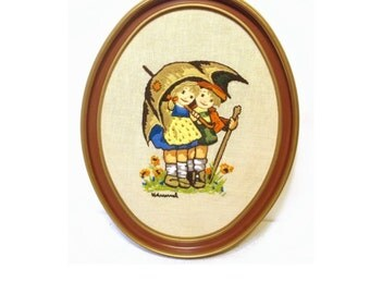 Vintage Hummel Embroidery, Completed Embroidery, Framed Embroidery, Crewel Embroidery, Umbrella Children Embroidery, Retro Nursery Decor