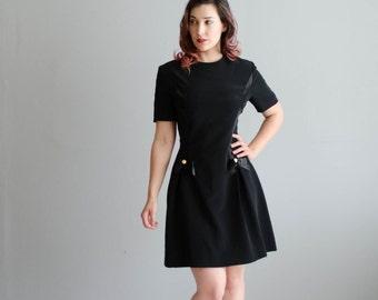 Vintage 1980s Nipon Boutique Dress - 80s does 60s Little Black Dress - Gramercy Park Dress