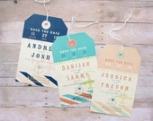 Luggage Tag Save the Date - Vintage Airline Inspired Travel Tag for Destination Theme Wedding, Vow Renewal, Bachelorette Party or Birthday