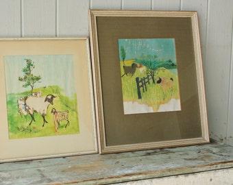 2 Original Evaline Ness Watercolor Paintings in Wood Frames
