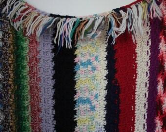 Vintage 1970s Crochet Fringe Blanket // 60's 70's Multicolor Afghan Blanket with colourful fringe