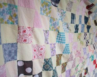 Vintage 1960s Handmade Patchwork Quilt // 50s 60s Large Vintage Bedspread // Crazy Quilt