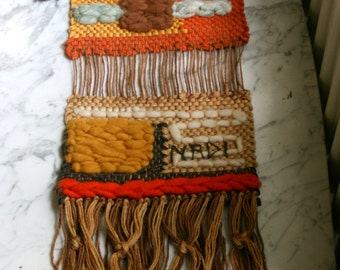 REDUCED!! Macrame Knotted Wall Hanging Boho NADI 1970s