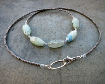 Blue Green Aquamarine Necklace, rustic light blue and mint green March birthstone jewelry with gray and silver accents