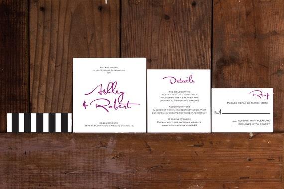 Modern calligraphy square wedding invitation template