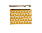 Triangles Clutch - Leather Wristlet - Geometric Modern Organic Cotton