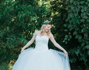 Ballgown Wedding Dress with Dropped Waist - The Amoreena Dress
