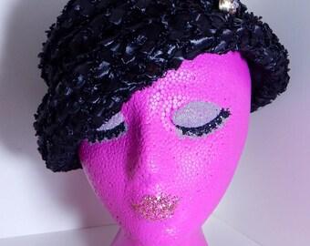 Vintage Betmar Hat Black Raffia with Gold Rhinestone Accent Mid Century Fashion Scrunchy Slouchy Wear to Side