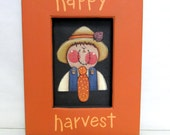 Happy Harvest Scare Crow Sign, Fall or Autumn Sign, Folk Art Scare Crow, Framed in Reclaimed Wood, Hand Painted on Black Screen, Autumn Sign
