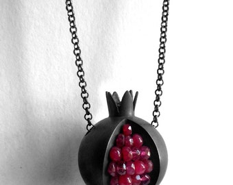 Pomegranate Necklace - Red Pink Gemstone - Oxidized Silver