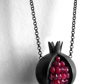 Pomegranate Necklace - Red Pink Gemstone Oxidized Silver - Pomegranate Silver Necklace - pomegranate jewelry - black pomegranate necklace