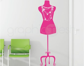 WALL DECAL Necklace Dress Form - Designer inspired fashion interior decor - Featured in HGTV magazine