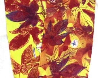 silk crepe scarf Autumn Vine unique long luxury hand painted wearable art women chartreuse maroon floral