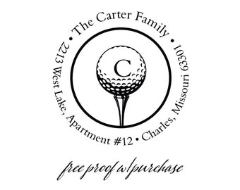 "Custom Return Address Rubber Stamp Featuring a Golf Ball and Tee with Single Initial Monogram (20298) 2""  Mounted with Handle or Self-inking"