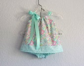 Baby Girls Floral Pillowcase Dress - Aqua with Bright Raspberry - Baby Girl Sun Dress - Size  Newborn, 3m, 6m, 9m, 12m or 18m
