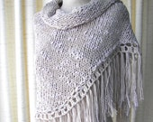 Hand Knit Textured Shawl Triangle Scarf in TAUPE Cotton Acrylic / romantic gift / shawl with fringes / bridal shawl