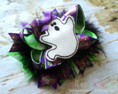 Halloween Ghost Boutique Style Petite Sized Hair Bow Lime Green Purple Black Marabou