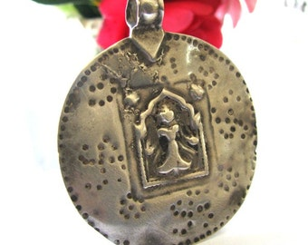 Antique Indian Amulet, 18oo's, Goddess Devi Pendant, Ethnic Tribal, Rajasthan, India, High Grade Silver,10.5 Grams