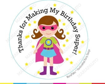 Girl Superhero Birthday Stickers, Supergirl Stickers, Girl Superhero Birthday Party, PRINTED round Stickers, tags, Labels A1202