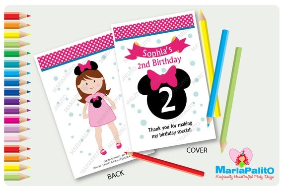 6 Minnie Mouse Coloring Books, Personalized Coloring Books, Birthday ...