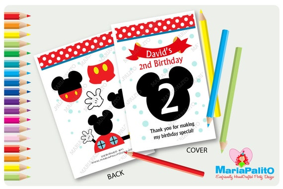 6 Mickey Mouse Coloring Books, Personalized Coloring Books, Birthday ...