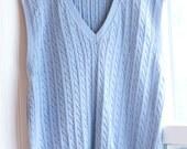 Mens Ralph Lauren Blue Cable Knit Sweater Vest, Mens Pull Over Sweater, Size XL, Mans Fall Fashion, Pastel Powder Blue, V Neck, Cotton