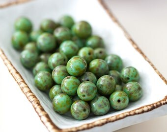 Vintage Green Turquoise Picasso Round Glass Beads