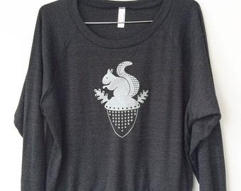 Women's Squirrel Sweatshirt on Tri-Blend Black