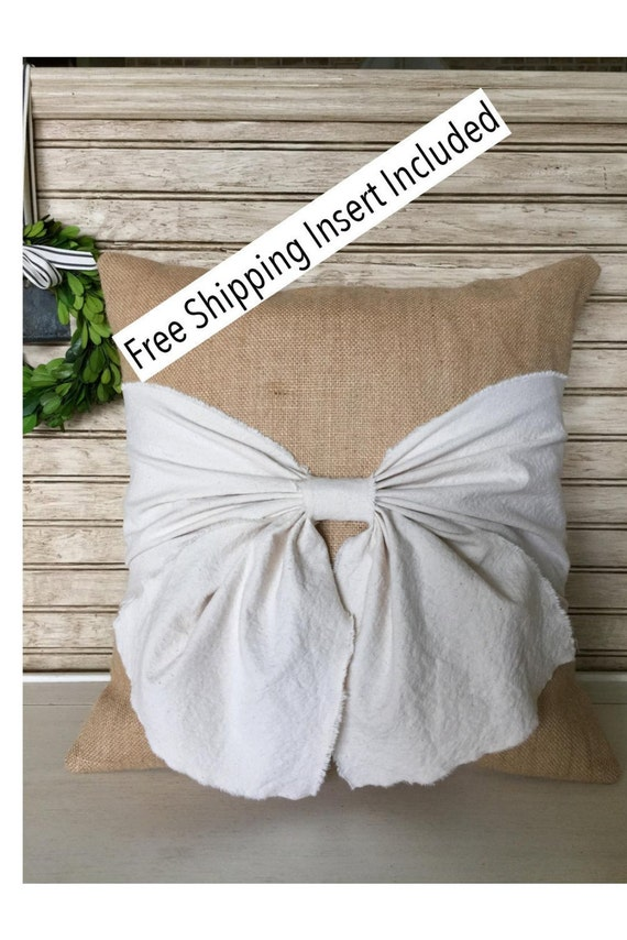Burlap Pillow with Off White Washed Cotton Canvas - Large Bow - Insert Included * FREE SHIPPING *