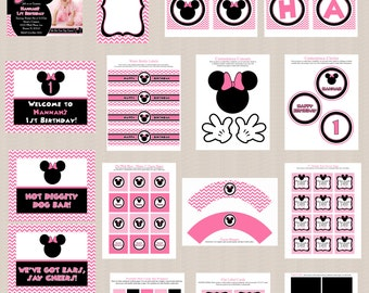 Minnie Mouse Birthday Party Printables, Minnie Mouse Party Decorations, Chevron Pattern, Pink, Black, Printable Personalized Package
