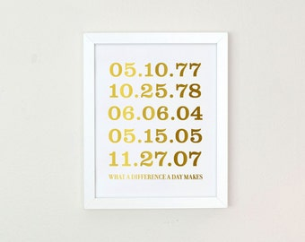 Personalized Gift women, Important Date Art, Gold Foil Print, Mothers Day Gift, Custom Wedding Gift, special date art print