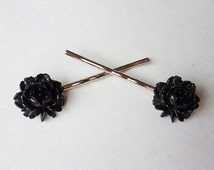 Gothic Roses // Vintage Black Rose Bobby Pin Set for the Hair, Vintage Celluloid, Silver Bobby Pins, Pinup Retro Bridal Goth Rockabilly Deco