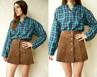 Vintage Slouchy Checked Tartan Printed 90's Shirt Size S/M
