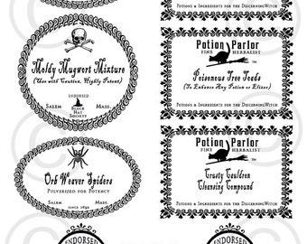 Halloween, Labels, Potion, Potion Bottle Labels, Potion Bottle, Black and White, Digital Download, 8.5 x 11, Printable