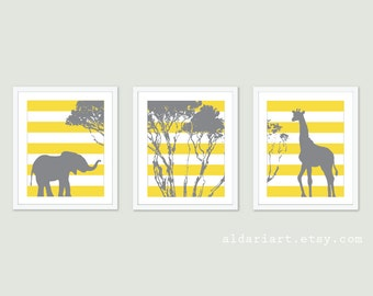 Elephant and Giraffe Nursery Print Set - African Animals - Safari Nursery Wall Art  - Stripes - Baby Children Art - Yellow and Grey Art