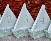 "Petite 6"" Free Standing Wooden Sail Boat, Wedding Table Numbers, Nautical Beach-y Event"