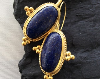 LAPIS LAZULI Earrings Sterling simple artisan ethnic antique ancient inspired mediterranean historic