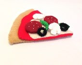 Felt food Pizza slice thin crust set eco friendly kids felt pretend food for children's toy play kitchen