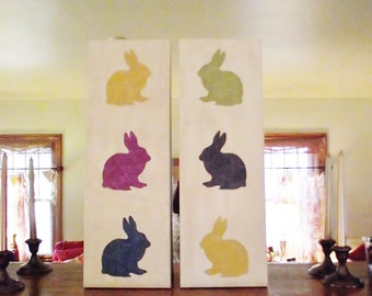 Bunny Wall Art 8 x 24 Rabbit Nursery Decor Vet Office Decoration Art Upcycled Wallpaper lime purple teal gold bunnies silhouette canvas