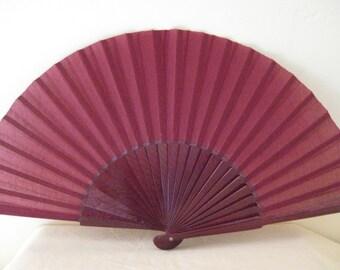 Regency/Victorian Style Fan. Plum Plain Cotton, Wood. Bridal Favour.