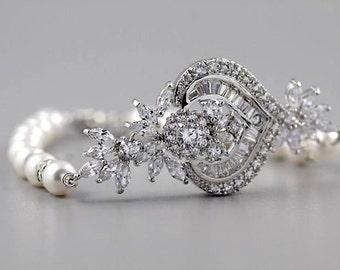 Crystal Bridal Bracelet, Pearl and Crystal Bracelet, CZ Bridal Jewelry,  Wedding Jewelry, Bridal Accessories, TAYLOR