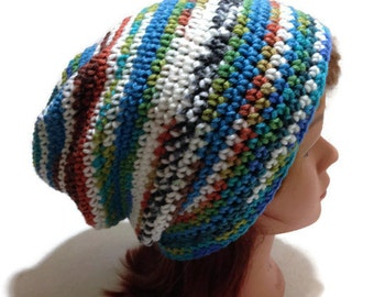 Boho Slouchy Hat, Blue Slouchy Hat, Festival Hat, Hippie Hat, Hipster Beanie, Festival Clothing, Bohemian Hat, Bohemian Hair Accessories